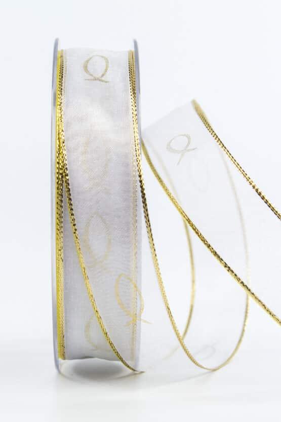 Chiffonband Fische für Kommunion/Konfirmation, gold, 25 mm breit - kommunion-konfirmation, geschenkband-fuer-anlaesse, anlasse