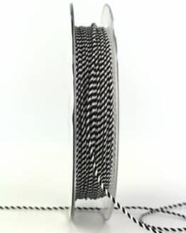 Dünne Kordel, schwarz/weiß, 1 mm stark - kordeln, andere-baender