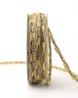 Bandkombination beige-braun-kariert, 7 mm - geschenkband, geschenkband-gemustert, dekoband