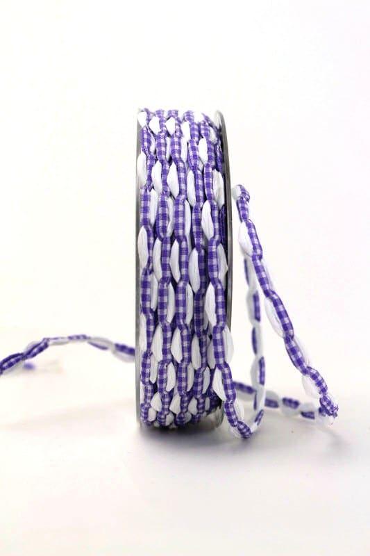 Bandkombination weiß-lila-kariert, 7 mm - geschenkband, geschenkband-gemustert, dekoband
