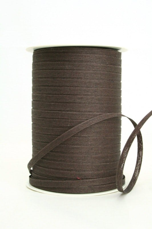 Baumwoll-Kräuselband braun, 5 mm - raffia, polyband, kompostierbare-geschenkbaender, bastband, ballonbaender