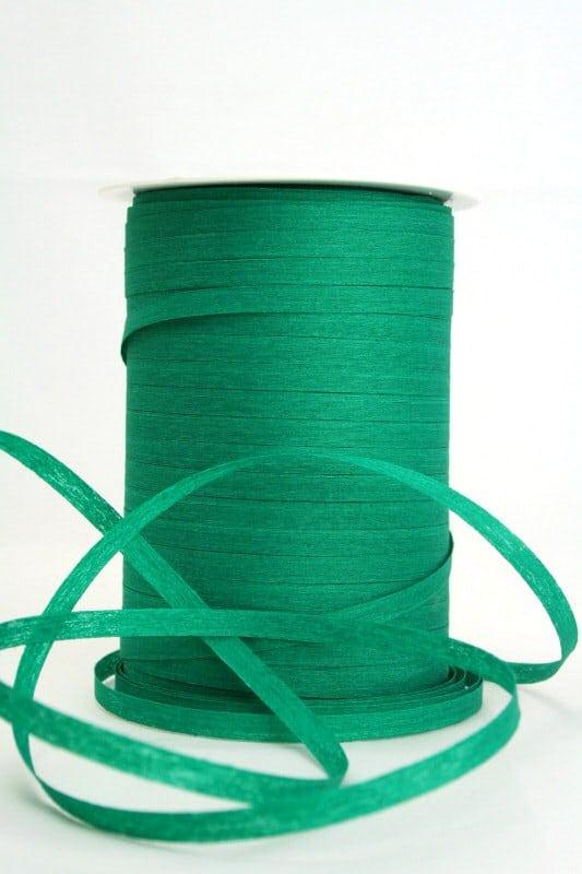 Baumwoll-Kräuselband dunkelgrün, 5 mm - raffia, polyband, kompostierbare-geschenkbaender, bastband, ballonbaender