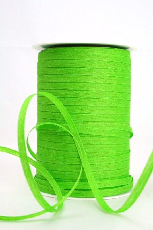Baumwoll-Kräuselband hellgrün, 5 mm - raffia, polyband, kompostierbare-geschenkbaender, bastband, ballonbaender