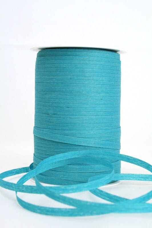 Baumwoll-Kräuselband türkis, 5 mm - raffia, polyband, kompostierbare-geschenkbaender, bastband, ballonbaender
