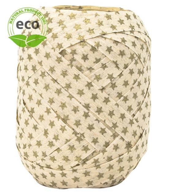 Baumwoll-Ringelband Sterne, creme, 10 mm breit, ECO - weihnachtsbaender, polyband, kompostierbare-geschenkbaender, geschenkband, geschenkband-weihnachten, eco-baender