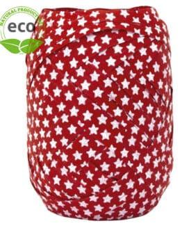 Baumwoll-Ringelband Sterne, rot, 10 mm breit, ECO - weihnachtsbaender, polyband, kompostierbare-geschenkbaender, geschenkband, geschenkband-weihnachten, eco-baender