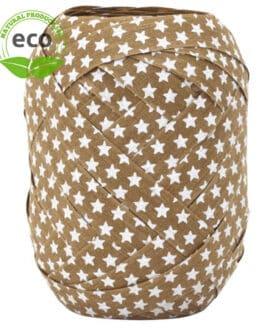 Baumwoll-Ringelband Sterne, braun, 10 mm breit, ECO - weihnachtsbaender, polyband, kompostierbare-geschenkbaender, geschenkband, geschenkband-weihnachten, eco-baender