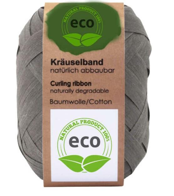 Baumwoll-Ringelband, grau, 10 mm breit, ECO - polyband, kompostierbare-geschenkbaender, geschenkband, geschenkband-einfarbig, eco-baender, ballonbaender