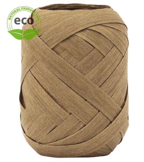Baumwoll-Ringelband, braun, 10 mm breit, ECO - polyband, kompostierbare-geschenkbaender, geschenkband, geschenkband-einfarbig, eco-baender, ballonbaender