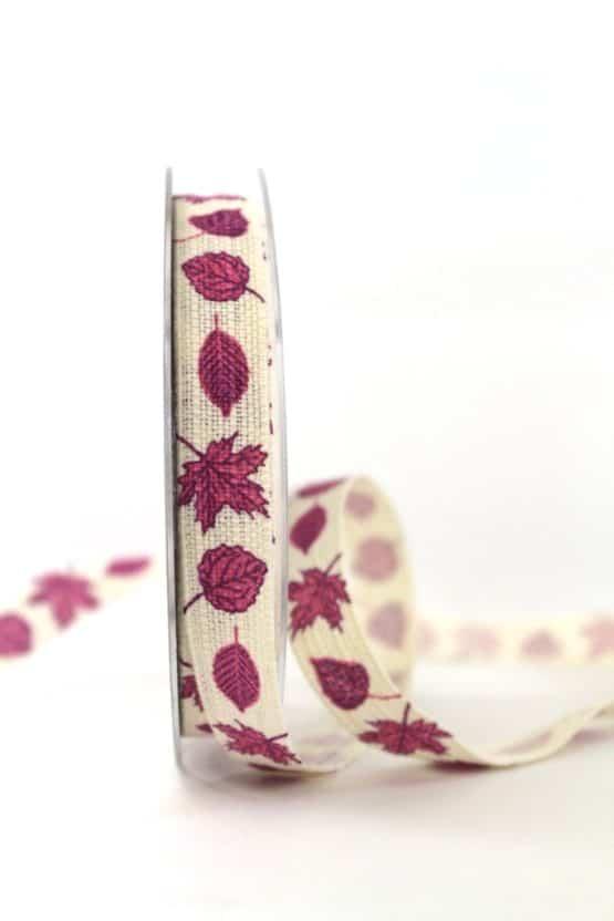 Baunwollband Herbstlaub, lila, 15 mm breit - geschenkband-gemustert
