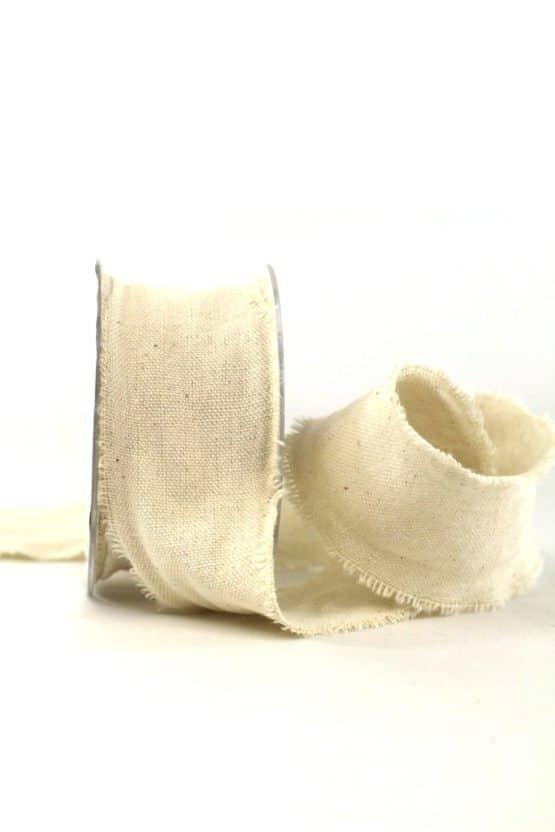 Baumwollband Natur, 40 mm breit - geschenkband-einfarbig, dekoband