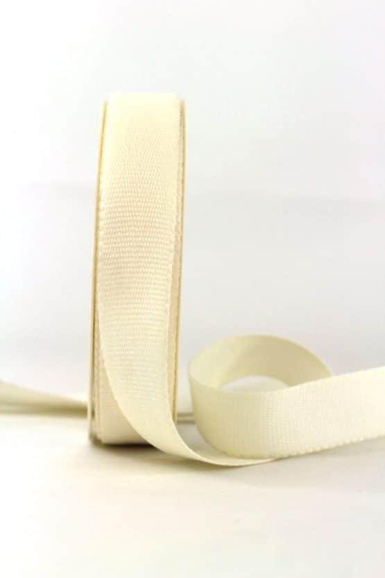 Baumwollband, creme, 25 mm breit - geschenkband-einfarbig