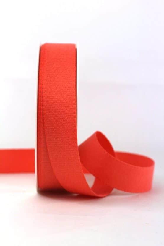 Baumwollband, koralle, 25 mm breit - geschenkband-einfarbig