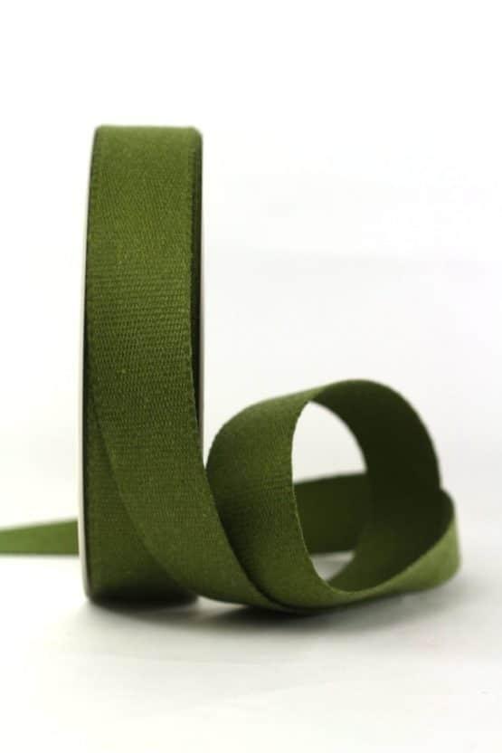 Baumwollband, moosgrün, 25 mm breit - geschenkband-einfarbig