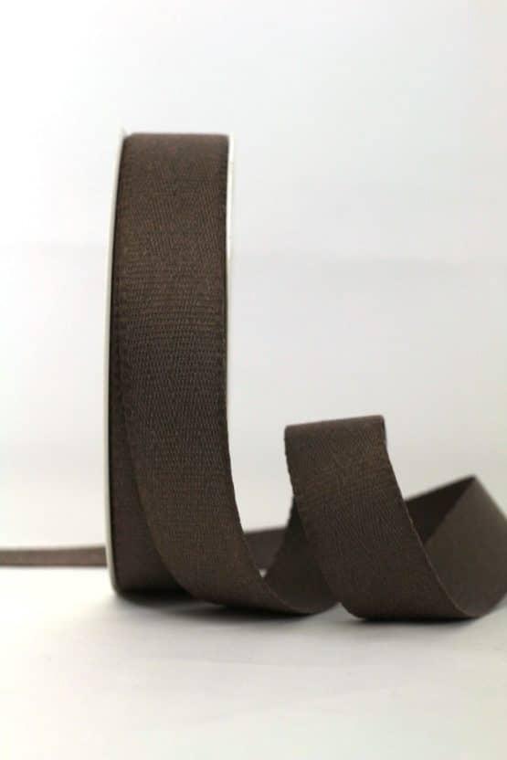 Baumwollband, taupe, 25 mm breit - geschenkband-einfarbig