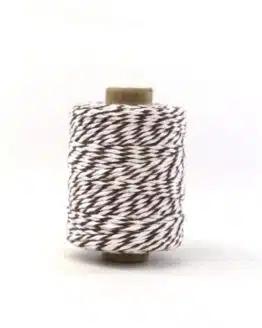 Zweifarbige Baumwollkordel braun-weiß, 2 mm - kordeln