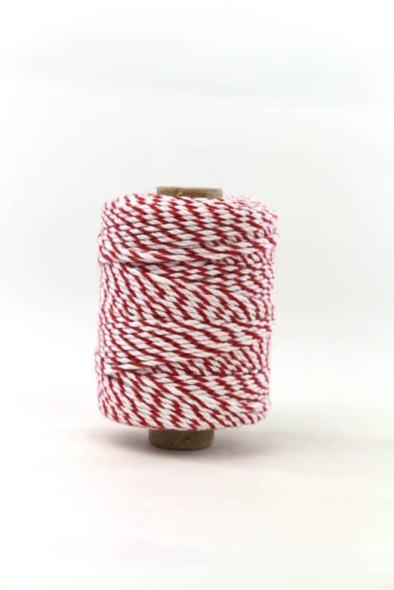 Zweifarbige Baumwollkordel rot-weiß, 2 mm - kordeln