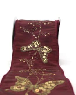 Breites Geschenk- und Dekoband m. Paillettenstickerei, bordeaux, 100 mm mit Draht - geschenkband-gemustert, dekoband, dekoband-mit-drahtkante