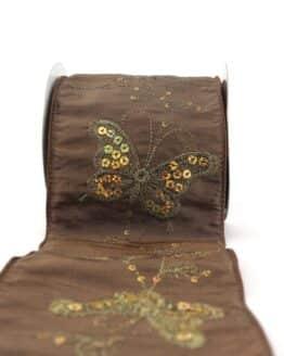 Breites Geschenk- und Dekoband m. Paillettenstickerei, braun, 100 mm mit Draht - geschenkband-gemustert, dekoband, dekoband-mit-drahtkante