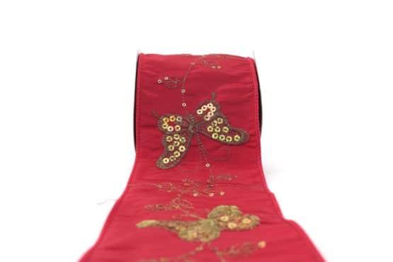 Breites Geschenk- und Dekoband m. Paillettenstickerei, rot, 100 mm mit Draht - geschenkband-gemustert, dekoband, dekoband-mit-drahtkante
