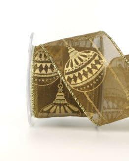 Dekorationsband Kugeltraum, gold, 65 mm mit Draht - weihnachtsbaender, geschenkband-weihnachten-gemustert, geschenkband-weihnachten