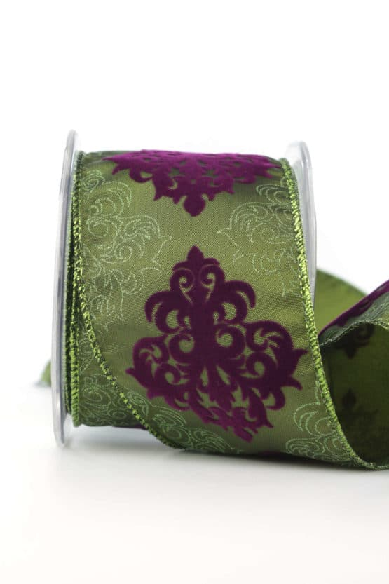 Dekorationsband Classico, grün, 65 mm mit Draht - weihnachtsbaender, geschenkband-weihnachten-gemustert, geschenkband-weihnachten