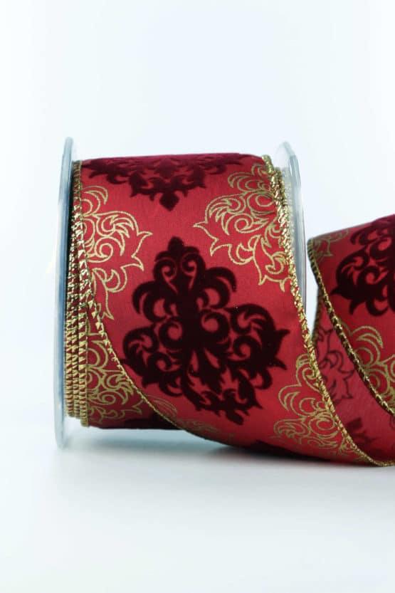 Dekorationsband Classico, rot, 65 mm mit Draht - weihnachtsbaender, geschenkband-weihnachten-gemustert, geschenkband-weihnachten