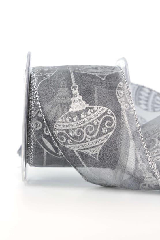 Dekorationsband Kugeltraum, silber, 65 mm mit Draht - weihnachtsbaender, geschenkband-weihnachten-gemustert, geschenkband-weihnachten