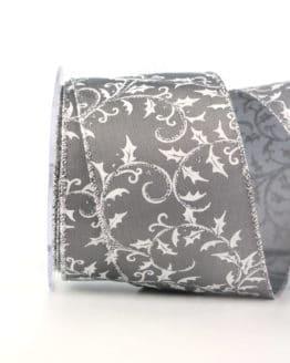 Dekorationsband Silberilex, grau, 65 mm mit Draht - weihnachtsbaender, geschenkband-weihnachten-gemustert, geschenkband-weihnachten