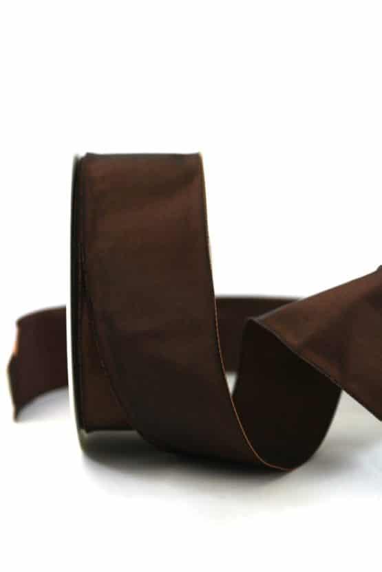 Changierendes Taftband, braun, 40 mm breit - geschenkband-einfarbig