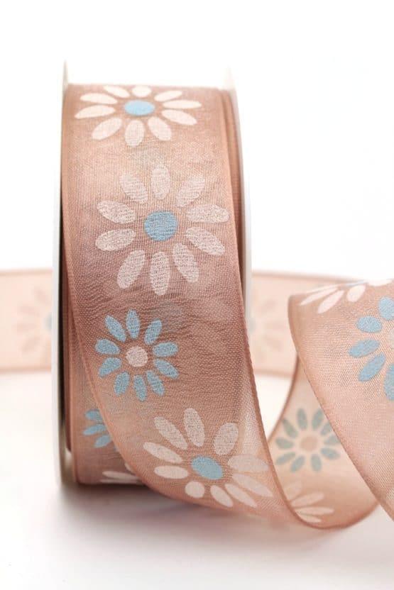 Organzaband mit Blüten, cappuccino, 40 mm mit Drahtkante - sonderangebot, organzaband, organzaband-mit-drahtkante, organzaband-gemustert, 20-rabatt