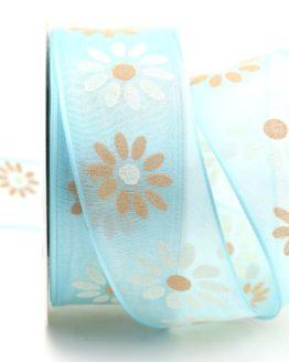 Organzaband mit Blüten, hellblau, 40 mm mit Drahtkante - sonderangebot, organzaband, organzaband-mit-drahtkante, organzaband-gemustert, 20-rabatt