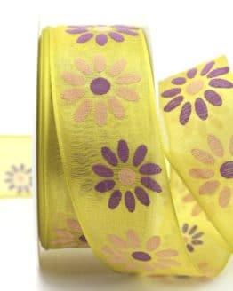 Organzaband mit Blüten, kiwigrün, 40 mm mit Drahtkante - sonderangebot, organzaband, organzaband-mit-drahtkante, organzaband-gemustert, 20-rabatt