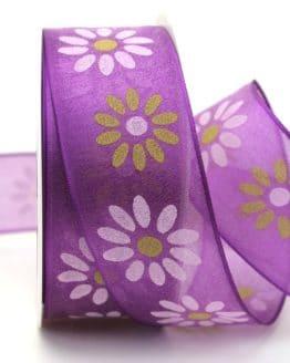 Organzaband mit Blüten, lila, 40 mm mit Drahtkante - sonderangebot, organzaband, organzaband-mit-drahtkante, organzaband-gemustert, 20-rabatt