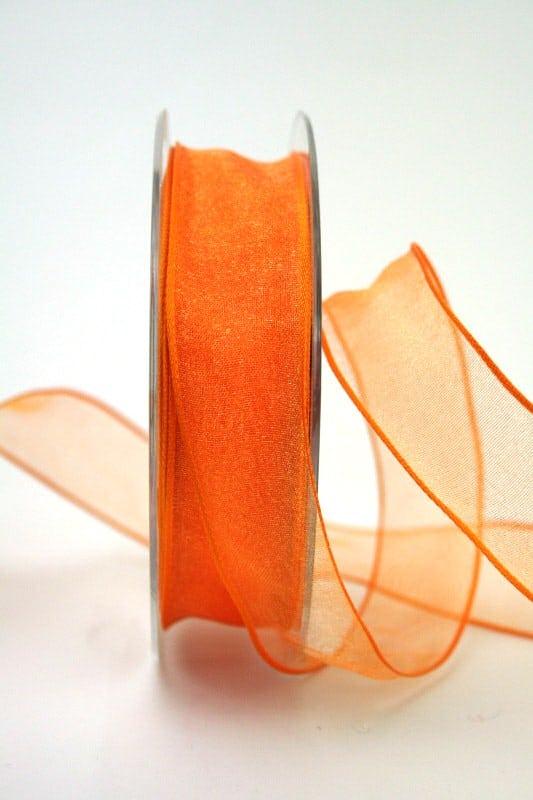 Organzaband orange, 25 mm, mit Drahtkante - organzaband, organzaband-mit-drahtkante, organzaband-einfarbig