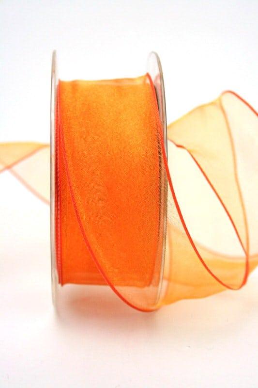 Organzaband orange, 40 mm, mit Drahtkante - sonderangebot, organzaband, organzaband-mit-drahtkante, organzaband-einfarbig, 50-rabatt