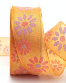 Organzaband mit Blüten, orange, 40 mm mit Drahtkante - sonderangebot, organzaband, organzaband-mit-drahtkante, organzaband-gemustert, 20-rabatt
