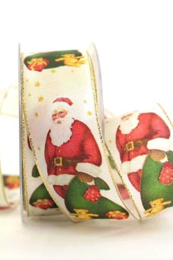 Schleifenband Knecht Rupprecht, 40 mm mit Draht - weihnachtsbaender, geschenkband-weihnachten-gemustert, geschenkband-weihnachten