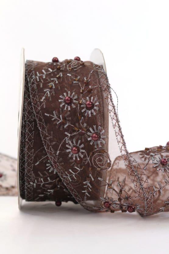 Exklusives Geschenk- und Dekoband mit Perlen, braun, 50 mm - weihnachtsbaender, geschenkband, geschenkband-weihnachten-gemustert, geschenkband-weihnachten, geschenkband-gemustert, dekoband