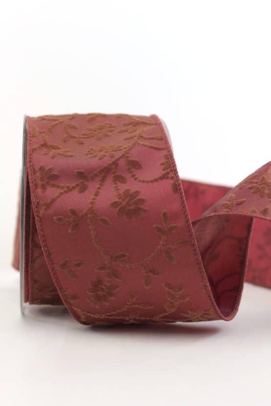 Geschenk- und Dekoband m. Rankenmotiv, terra, 65 mm mit Draht - weihnachtsbaender, geschenkband-weihnachten-einfarbig, geschenkband-weihnachten, dekoband, dekoband-mit-drahtkante