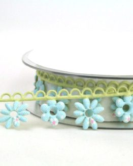 Blütengirlande hellblau-grün - dekogirlande
