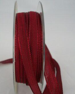 Schmales Dekoband mit Struktur, bordeaux, 10 mm breit - dekoband