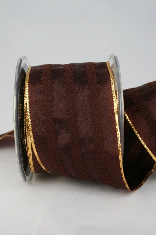 Breites Geschenk- und Dekoband braun, 65 mm breit - weihnachtsbaender, geschenkband-weihnachten-einfarbig, geschenkband-weihnachten