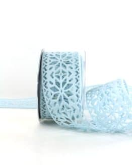 Dekoband aus Filz - Eiskristalle, hellblau, 60 mm breit - geschenkband-weihnachten-einfarbig, geschenkband-weihnachten