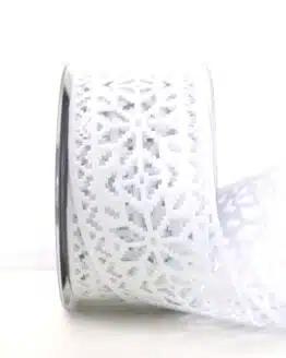 Dekoband aus Filz - Eiskristalle, weiß, 60 mm breit - geschenkband-weihnachten-einfarbig, geschenkband-weihnachten