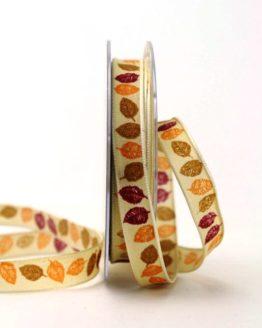Geschenk- und Dekoband mit Herbstlaub, orange-bordeaux, 15 mm - geschenkband-gemustert, dekoband, dekoband-mit-drahtkante