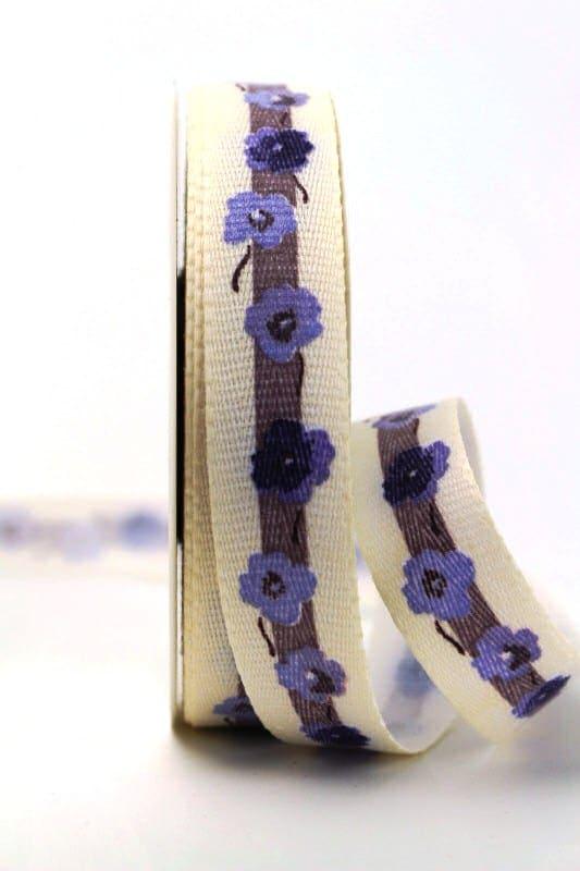 Leinenband mit Vergissmeinnicht-Blüten, flieder, 25 mm - webkante, organzaband, geschenkband, geschenkband-gemustert, dekoband