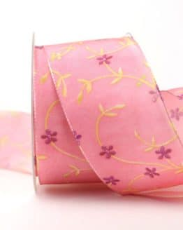 Geschenk- und Dekoband Ranke, rosa, 60 mm - geschenkband-gemustert, dekoband, dekoband-mit-drahtkante