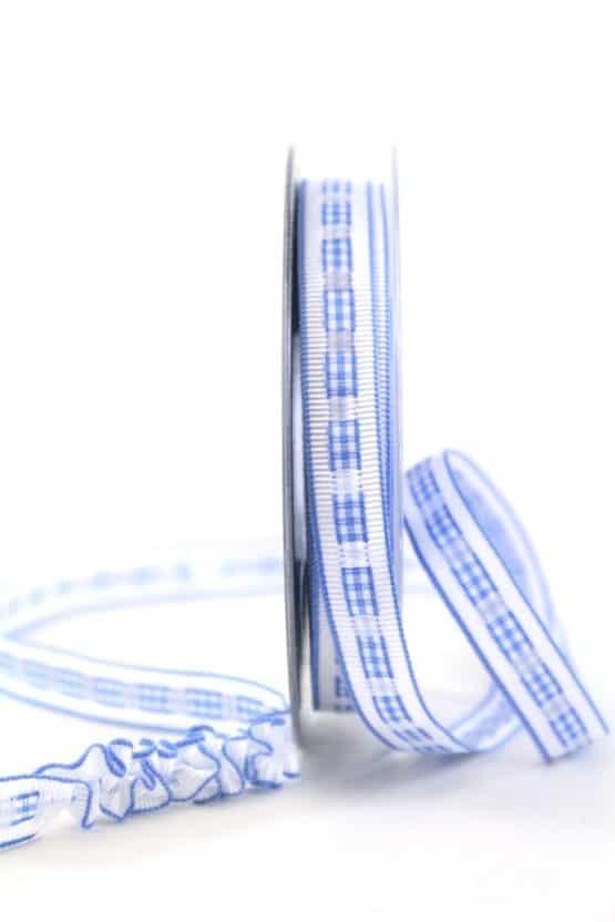 Dekoband Rips-/Satin, blau-weiß, 15 mm breit - geschenkband-gemustert, dekoband
