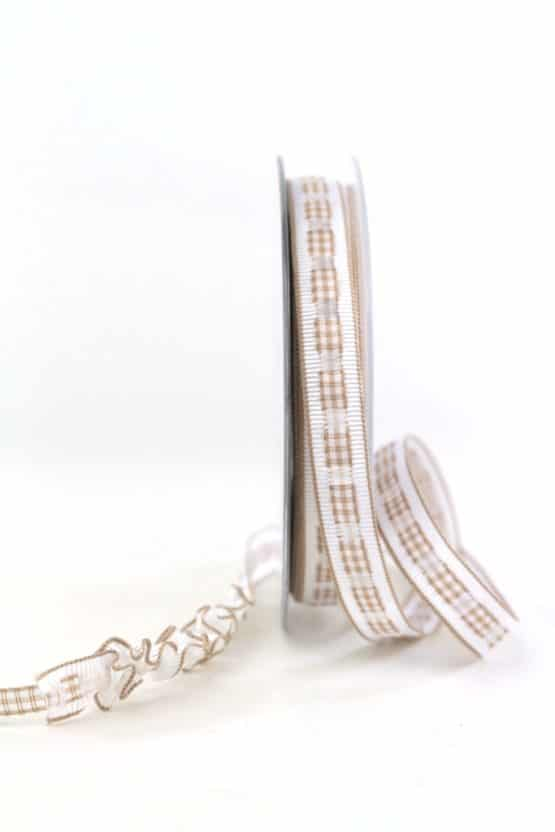 Dekoband Rips-/Satin, braun-weiß, 15 mm breit - geschenkband-gemustert, dekoband